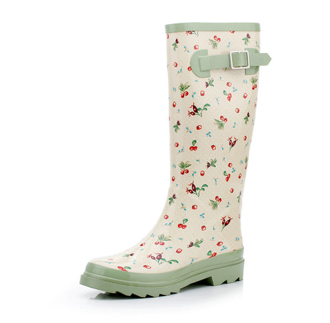 Korean Floral Knee-length Rubber Shoes [4915340932]