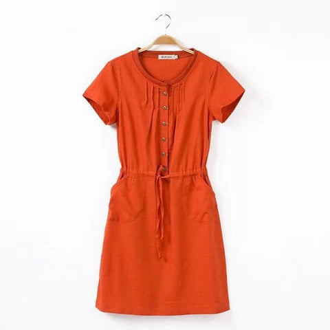 Summer Casual Shaped Slim Cotton Linen Short Sleeve Plus Size Dress One Piece Dress [4917841924]