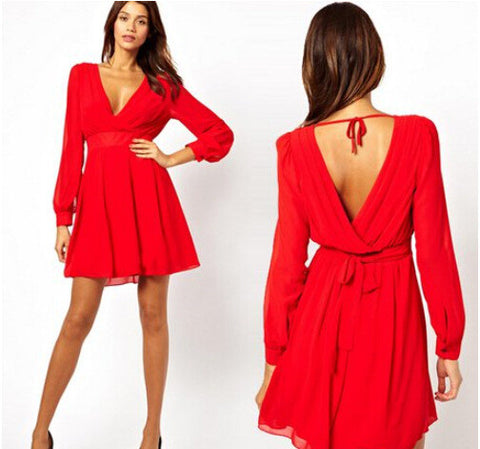 Women's Fashion Long Sleeve V-neck Shaped Chiffon Sexy Club Dress One Piece Dress [4915016772]