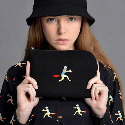Double Sided Embroidery Blue Black Red Green Bags [4918655236]