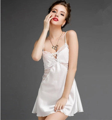V-neck Spaghetti Strap Dress Couple Ladies Home Sleepwear [4918216132]