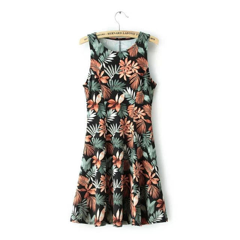 Summer Floral Leaf Sleeveless Round-neck Slim Dress One Piece Dress [4917813252]