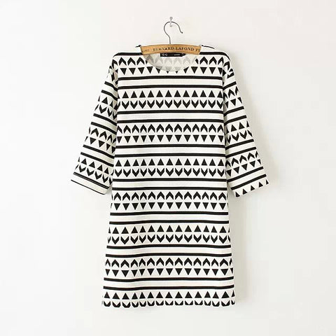 Summer Korean Stylish Geometric Pattern Short Sleeve Round-neck Skirt Dress One Piece Dress [4917845188]