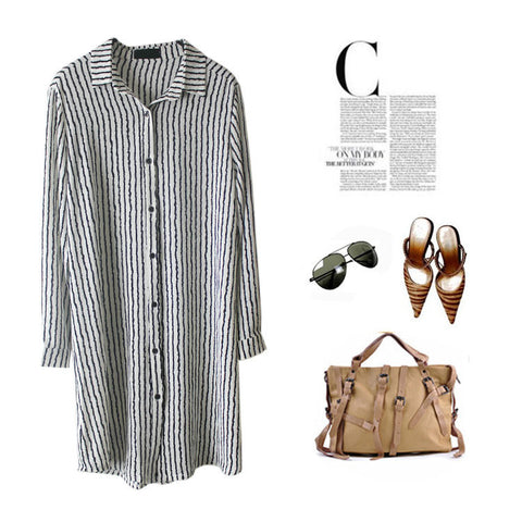 Boyfriend Strong Character Stripes Slim Blouse [4918272196]