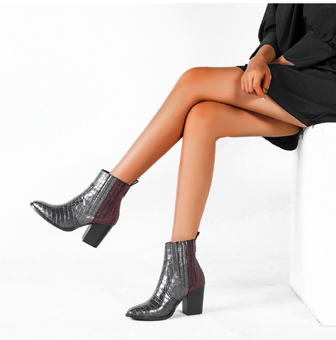 Autumn and winter fashion snakeskin high heel boots [4264518484040]