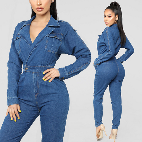 Autumn and winter fashion deep V sexy washed denim jumpsuit  [4264636252232]