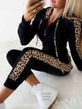 Autumn and winter fashion leopard hooded sports ladies suit  [4333842366536]