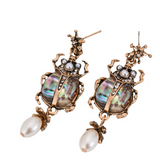 Fashion exaggerated insect natural shell diamond vintage pearl earrings  [4353351942216]