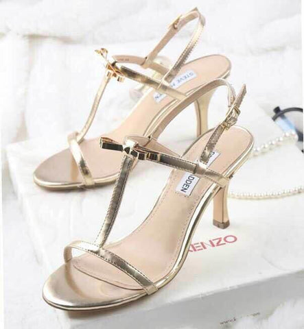 Stylish Design Summer Metal Butterfly High Heel Shoes Sandals [4918349956]