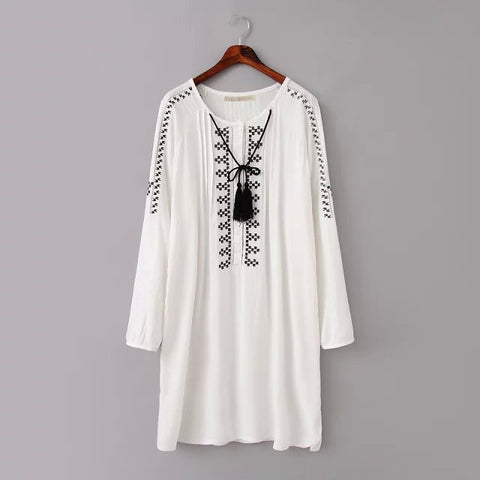 Summer Women's Fashion Embroidery Decoration Long Sleeve Dress Skirt One Piece Dress [4917840516]