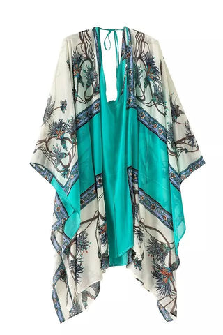 Summer Beach Sea Green Scarf Print Chiffon Dress One Piece Dress [4917816516]