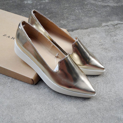 Metal Thick Crust Pointed Toe Shoes [4918351044]