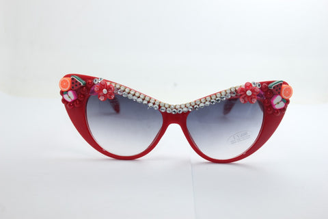 Vintage Soft Rhinestone Resin Fruits Floral Vacation Sunglasses [4915289604]