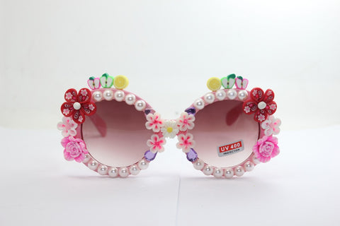 Handcrafts Soft Resin Fruits Mirror Pearls Glasses Stylish Strong Character Sunglasses [4915289348]