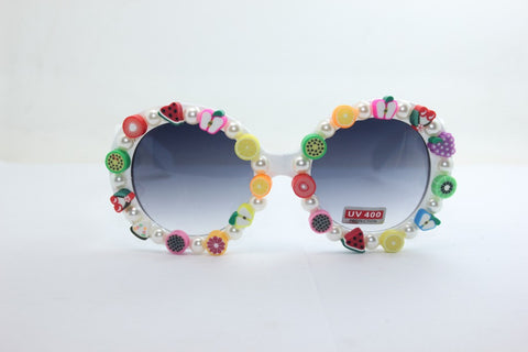 Resin Fruits Sunglasses White Pearls Soft Mirror [4915289540]
