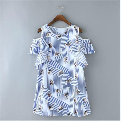 Korean Rabbit Print Stripes Slim Strapless One Piece Dress [4917815172]