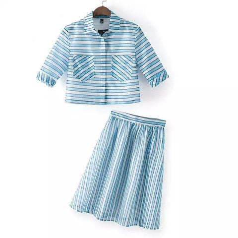 Stripes Stylish Tops Dress Set [4917819716]