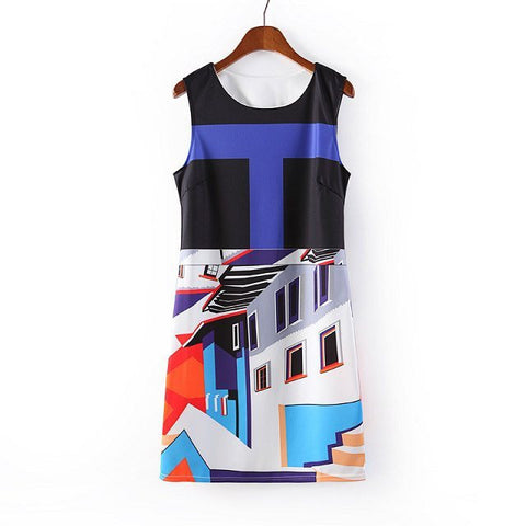 Women's Fashion Star Mosaic Geometric Print Slim One Piece Dress [4917827460]