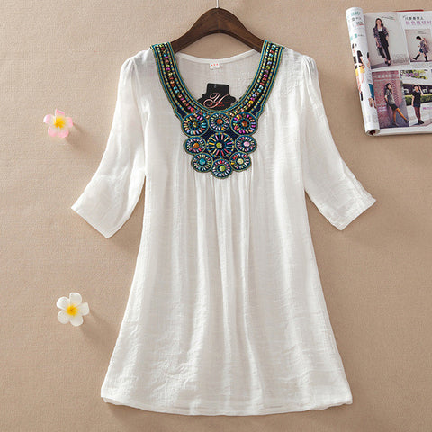 Half Sleeve Plus Size Cotton Blouse [6259186820]