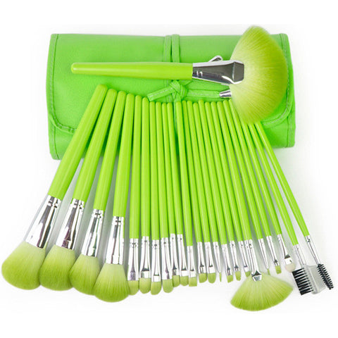 24-pcs Make-up Brush Green Orange Luxury Nylon Brush Make-up Brush Set [4918376260]