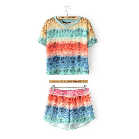 Summer Women's Fashion Gradient Pattern Round-neck Short Sleeve T-shirts Shorts Set [4917834820]
