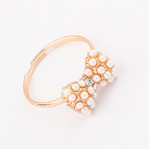 Gift Jewelry Shiny New Arrival Korean Stylish Strong Character Rhinestone Butterfly Pearls Accessory Ring [4918802116]