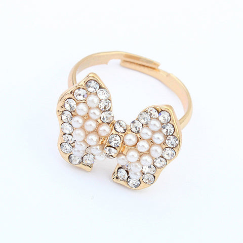 Gift Shiny New Arrival Jewelry Stylish Elegant Pearls Butterfly Accessory Ring [4918802884]