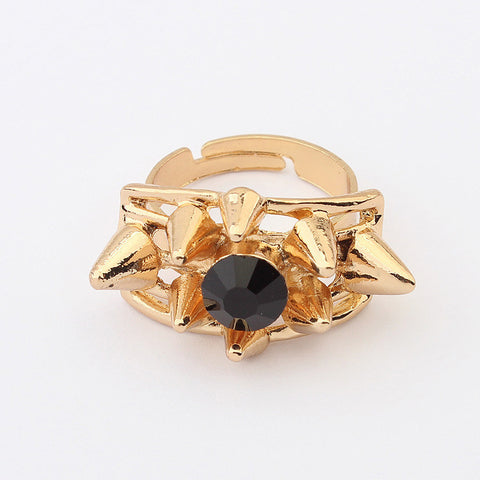 Stylish Gift Jewelry Shiny New Arrival Strong Character Vintage Metal Rivet Acrylic Gemstone Accessory Ring [4918798788]