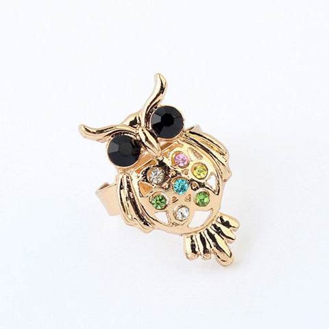 Stylish Gift Shiny New Arrival Jewelry Fashion Hot Sale Vintage Strong Character Rhinestone Owl Accessory Ring [4918799748]