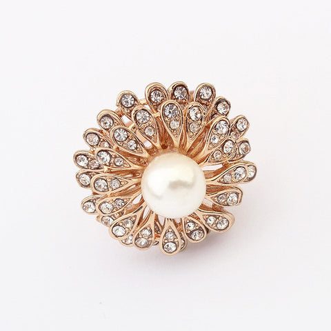 Gift Shiny Jewelry New Arrival Stylish Pearls Rhinestone Floral Accessory Ring [4918798276]