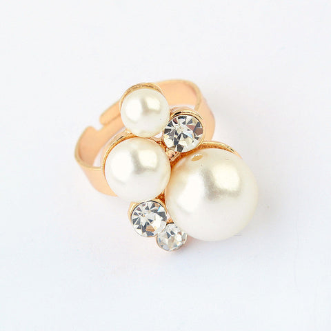 Jewelry Gift Shiny New Arrival Korean Stylish Simple Design Pearls Rhinestone Accessory Ring [4918798852]