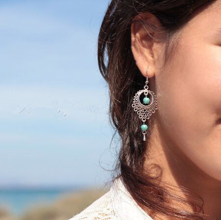 Accessory Stylish Vintage Hollow Out Water Droplets Earrings [4918493060]