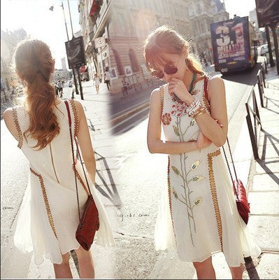 Summer Heavy Work Embroidery Sleeveless Slim Vest One Piece Dress [4918393284]