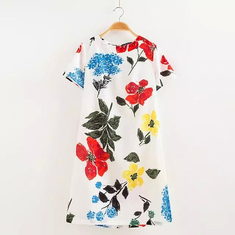 Summer Leaf Floral Print Short Sleeve Women's Fashion Stylish Slim Skirt One Piece Dress [4917803972]
