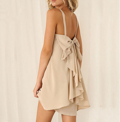 Summer Chiffon Backless Butterfly Spaghetti Strap One Piece Dress [4915023748]