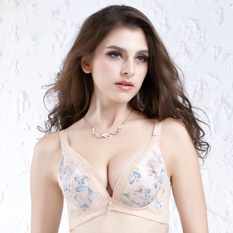 Embroidery Underwear With Steel Wire Adjustable Bra [4915567876]