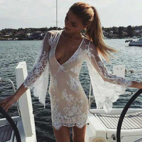 Deep V See Through Lace Loudspeaker Skirt One Piece Dress [4966225604]