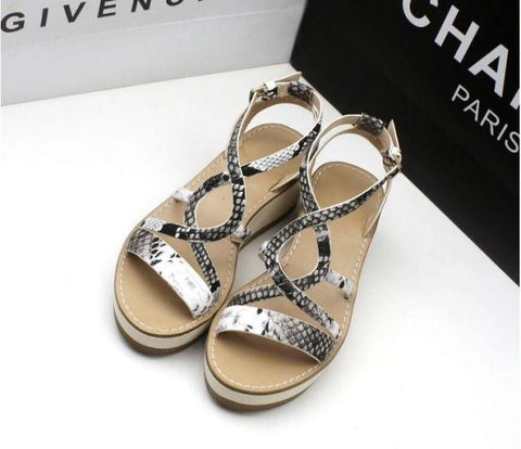 Design Stylish Shoes Summer Platform Shoes Print Peep Toe Wedge Sandals [4918349700]