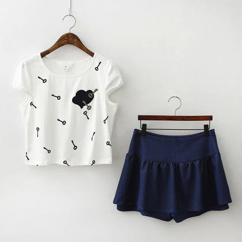 Summer Stylish Heart Print Pullover Tops Shorts Pants Dress Bottom & Top Set [4917775236]