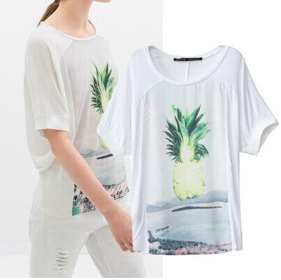 Pineapple Pattern Summer Fashion Style Lovely Women Clothing = 4697437700