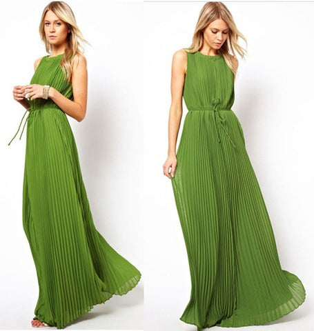 Hot Sale Star Green Pleated Prom Dress One Piece Dress [6369154628]