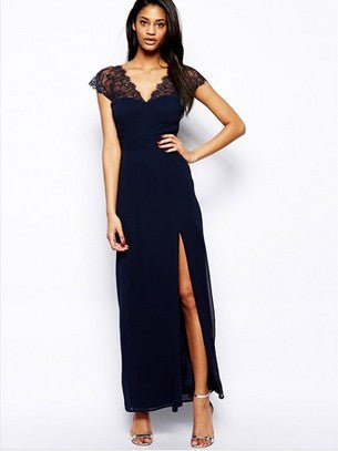 0358fbb480f Sexy V-neck Navy False Eyelashes Lace Mosaic Chiffon Ball Gown One Piece  Dress