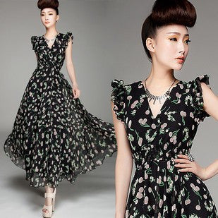 Fruits Dress Shaped Double-layered Chiffon One Piece Dress [4915017796]