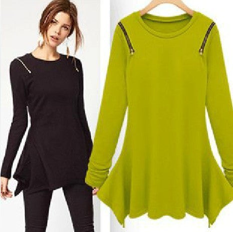 Autumn Star Zippers Irregular Long Sleeve T-shirts Women's Fashion Bottoming Shirt [4918037124]