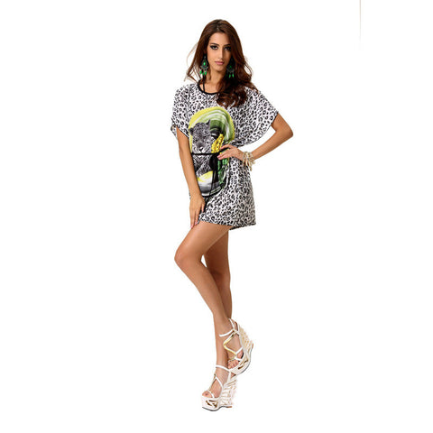 Print Plus Size Shaped Batwing Sleeve One Piece Dress [4918255300]