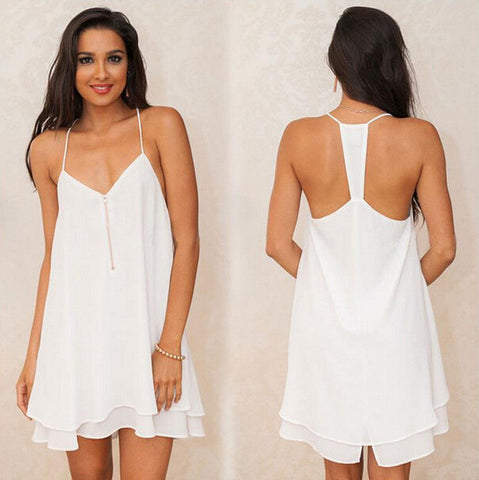 Vest Dress Summer Ruffle Spaghetti Strap Chiffon One Piece Dress [4915023940]