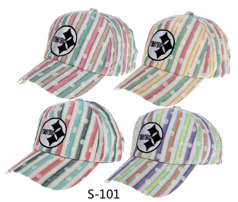 Korean Embroidery Stripes Baseball Cap Cap Ladies Summer Hats [4917678916]