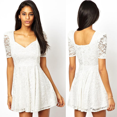 Women's Fashion High Rise Shaped Slim Short Sleeve Lace One Piece Dress [4917748804]