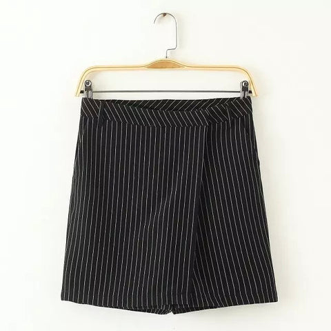 Summer Women's Fashion High Rise Scales Split Vintage Stripes Pants Dress Casual Shorts [4917853252]
