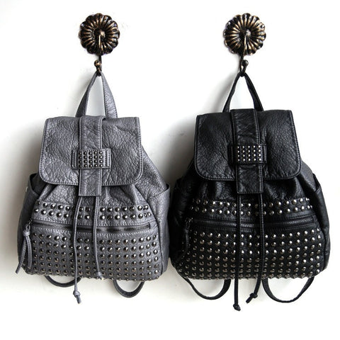 Comfort Back To School On Sale College Hot Deal Stylish Korean Punk Rivet Rinsed Denim Casual Backpack [4915787588]